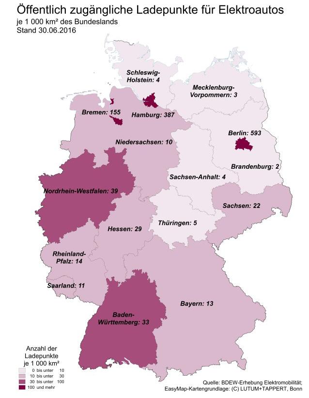 Anzahl Ladepunkte Deutschland je 1000km Infrastruktur