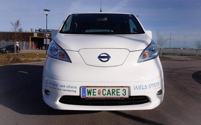e-nv200 nissan evalia e-carsharing carsharing wels welsstrom elektroauto elektrovan e-auto front weiss