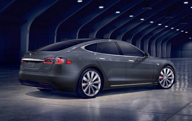 Tesla Model S Seite hinten grau