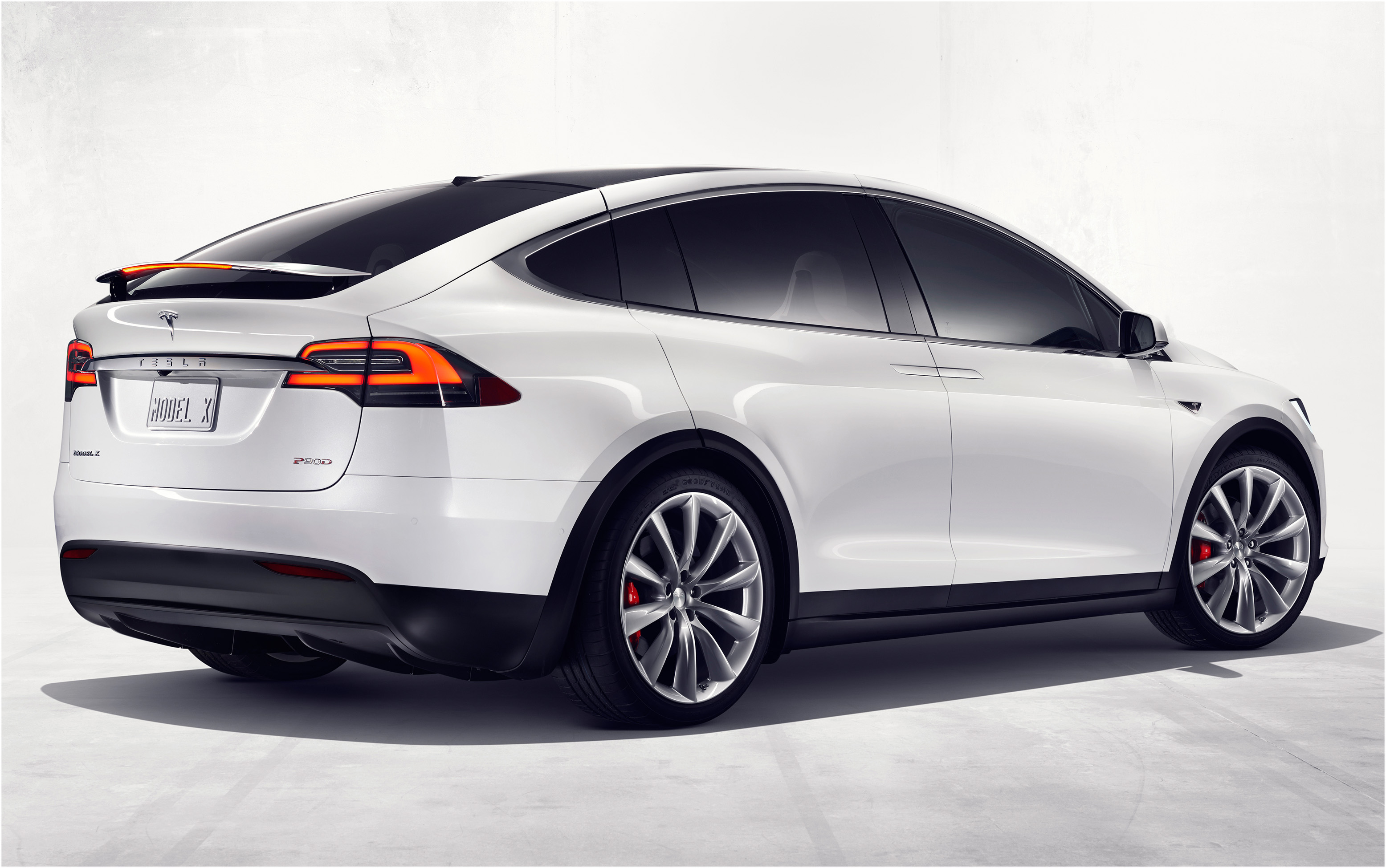 Tesla Model X weiß hinten