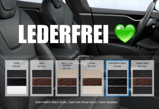 Tesla lederfrei vegan sitze seats
