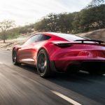 Tesla Roadster 2020 rot back driving hinten
