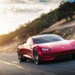 Tesla Roadster 2020 rot vorne fahrend