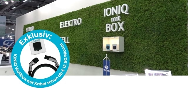 Hyundai IONIQ mit Box Wallbox Vienna Autoshow 2018 Ladestation Steckdose Ladedose Enomics Ladetechnik im Leasing Button Wien