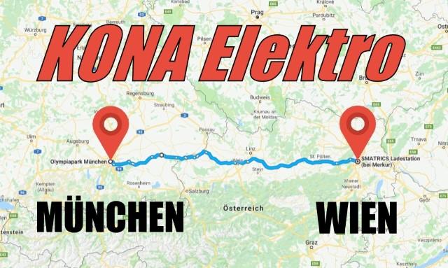 Hyundai Kona Elektro Wien München 420km