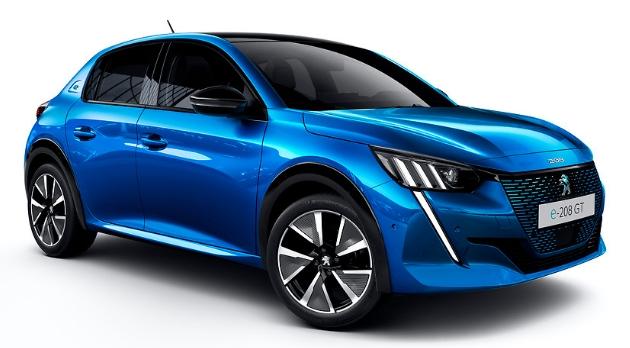 Peugeot e-208 blau schräg vorne weiß big