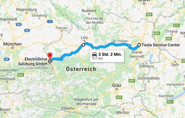 Autobahn Reichweite Tesla Model 3 Wien Salzburg 130 kmh