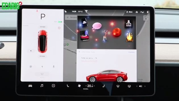 Eastereggs spass mit dem tesla model 3