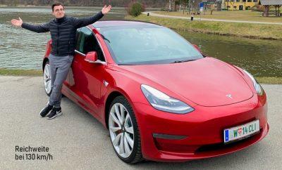 Tesla Model 3 dual motor performance rot Autobahn Reichweite bei 130 kmh