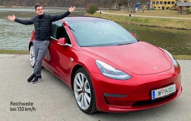 Tesla Model 3 dual motor performance rot Autobahn Reichweite bei 130 kmh