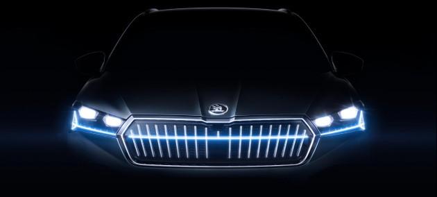 Škoda Enyaq iV crystal face led kühlergrill motorhaube nacht licht