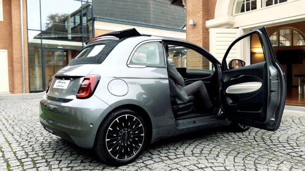 Fiat 500 Elektro La Prima grau hinten